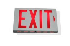 Exit to the right. An exit sign pointing to the right royalty free stock image