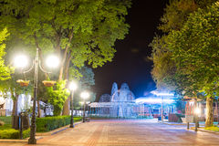 Exit to the seaside embankment in the night Pomorie, Bulgaria royalty free stock photo