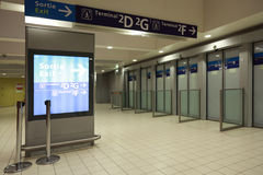 Exit to terminals at the airport. Stock Images