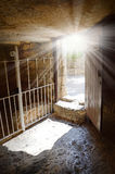 Exit from the tomb of Christ stock images