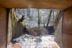 Exit underground tunnel. View of snow melt on tree. Exit from underground tunnel. Picture of snow that melt on tree branches in sun light Stock Photos