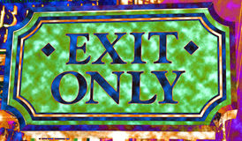Exit only. Unique colorful exit only sign Stock Photos