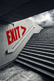 EXIT on Urban staircase in underground passage Royalty Free Stock Photos