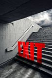 EXIT on Urban staircase in underground passage Royalty Free Stock Image