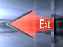 Exit - This way. 3D Illustration. An Interior Exit Sign stock illustration