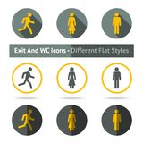 Exit and WC icons set. In different flat styles Royalty Free Stock Photos