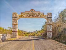 Exit Welcome sign, as seen when leaving Ixcateopan de Cuauhtemoc, Guerrero. An historic Aztec city, Travel in Mexico. Exit Welcome sign, as seen when leaving stock photography