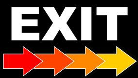Exit - white title with arrows in fiery colors, red, orange, yellow. Arrows flying to right. Animated navigation on. Black background. FullHD video 1920x1080 royalty free illustration