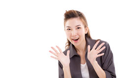 Exited business woman looking at camera Royalty Free Stock Photo