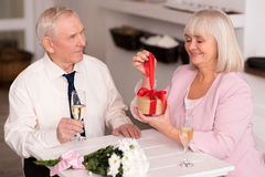 Exited cheery lady opening her present Stock Photography
