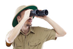 Exited explorer looking through binoculars Royalty Free Stock Image