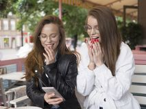 Exited girls got a good news from internet. Exited girls got a good news from internet royalty free stock photos