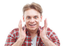 Exited guy showing  great surprise Stock Photography