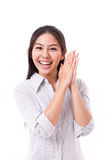 Exited, happy, satisfied woman royalty free stock photography