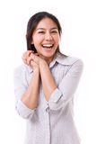 Exited, happy, satisfied woman royalty free stock image