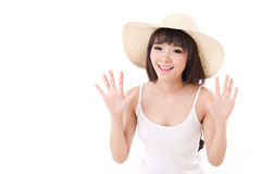 Exited, happy, smiling woman looking at camera Stock Images
