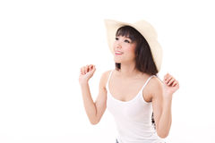 Exited, happy, smiling woman looking up, isolated white Royalty Free Stock Photos
