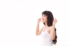 Exited, happy, smiling woman looking up royalty free stock photos