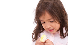 Exited little girl with her jelly or gelling sugar Stock Photos