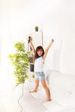 Exited little girl singing Stock Images
