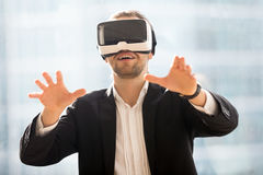 Exited new experience of gaming in virtual reality Royalty Free Stock Image