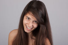 Exited pretty girl smiling Stock Image
