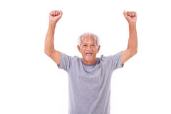 Exited senior old man laughing, raising his hands up Royalty Free Stock Photography