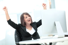 Exited, successful business woman Stock Images