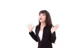 Exited, surprised business woman looking up Royalty Free Stock Image