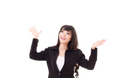 Exited, surprised business woman looking up Stock Images