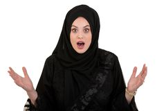 Exited, surprised muslim woman with hijab or head scarf isolated on white royalty free stock photos