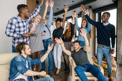 Exited volunteers are happy because of good job royalty free stock images