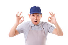 Exited worker, employer with ok hand gesture on both hands. White isolated background Stock Images