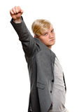 Exited young man raising clenched fist arm Royalty Free Stock Photo