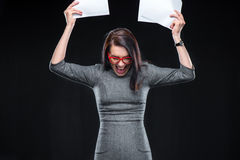 Exited young woman stock photography
