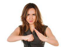 Exited young woman raising clenched fist arm Royalty Free Stock Photos