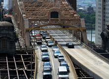 Exiting The Bridge. Traffic Exiting the Queensboro Bridge Royalty Free Stock Images
