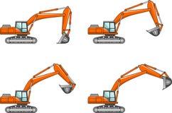exkavatoren Maschinen des schweren Baus Auch im corel abgehobenen Betrag Lizenzfreies Stockbild