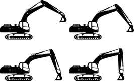 exkavatoren Maschinen des schweren Baus Vektor Stockbilder