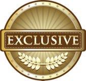 Exklusiv guld- symbol för sköldmedaljetikett Royaltyfri Illustrationer