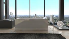Exklusiv lyxig badruminre i en modern takvåning Royaltyfria Bilder