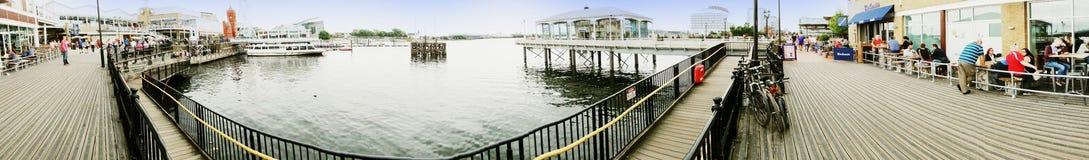EXKLUSIV - Panorama von Cardiff-Docks stockbild