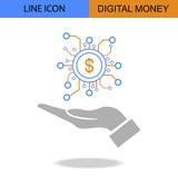 Exklusive Digital-Geld-Linie Vektorikone Stockbilder