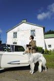 Exklusive Frau mit Hund und Auto Stockbild