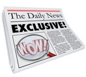 Exklusive Zeitungsgeschichte-Artikel-Nachrichten-Alarm-Aktualisierung nur hier Stockfoto
