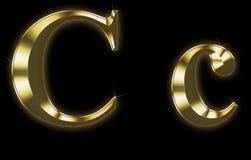 Exklusiver Ansammlungsschrifttyp von aufgetragenem Gold - C Lizenzfreie Stockfotos