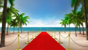 Exklusiver roter Teppich auf dem sandigen tropischen Strand Lizenzfreie Stockfotografie