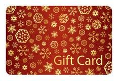 Exklusiver roter Weihnachtsgutschein mit goldenem Schnee Lizenzfreie Stockbilder