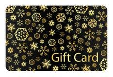 Exklusiver schwarzer Weihnachtsgutschein mit goldenem Sn Stockbild