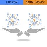 Exklusives doppeltes Digital-Geld-flache Linie Vektorikone Lizenzfreie Stockfotografie